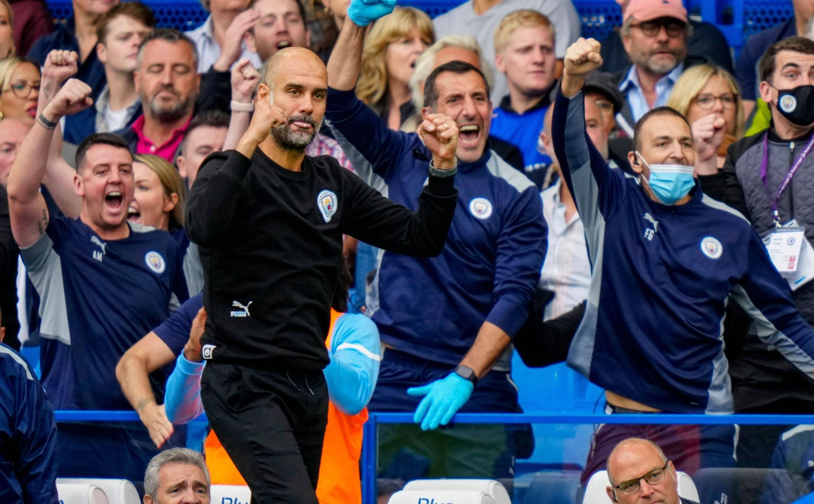 Mandatory Credit: Photo by Javier Garcia/Shutterstock (12463206ch) Pep Guardiola Manchester City Manager celebrates on
