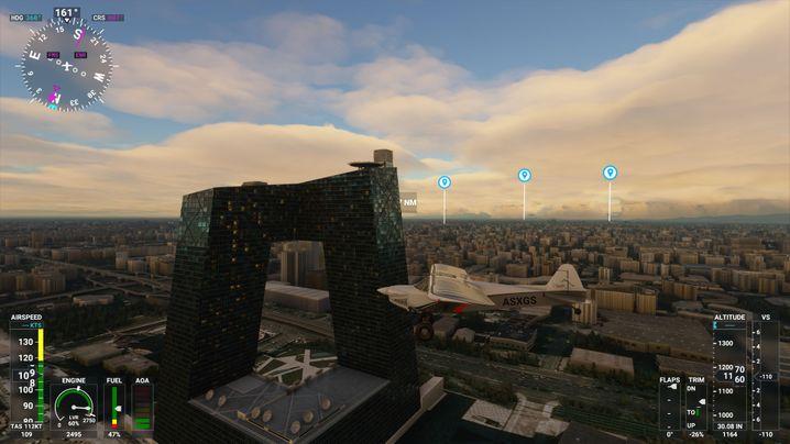 Die Sendezentrale des staatlichen Fernsehens in Microsofts Flight Simulator