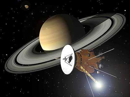 """Saturnsonde """"Cassini"""" (Zeichnung): Auf Tuchfühlung mit Titan"""