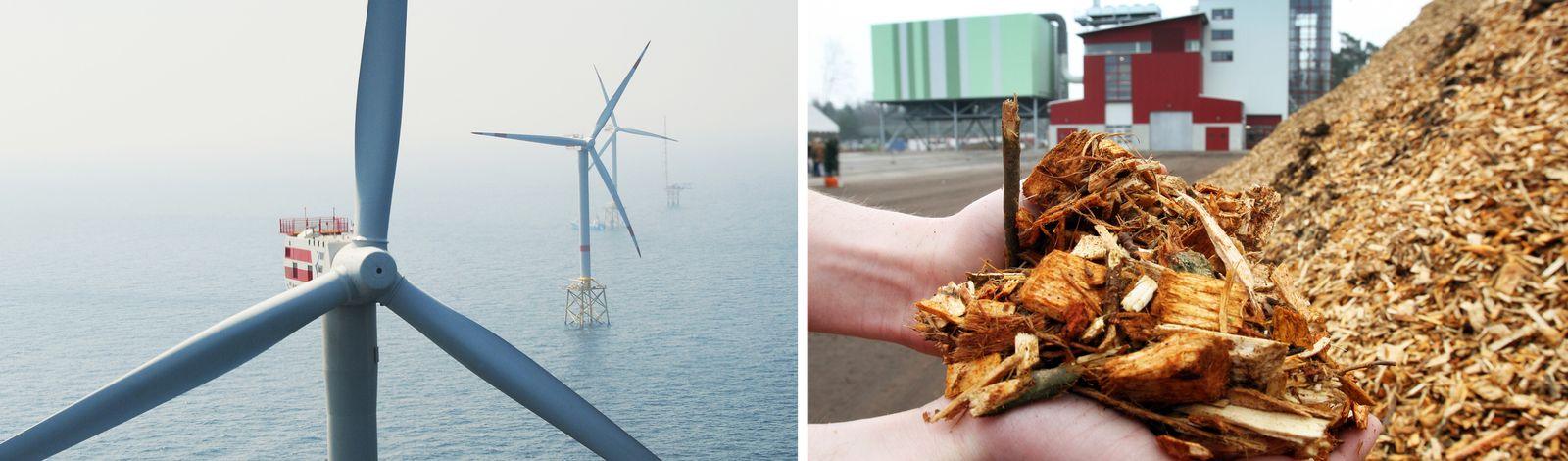 EINMALIGE VERWENDUNG links offshore-windrder, rechts biomassekraftwerk
