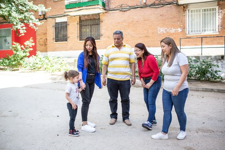 Zuleta with his wife, daughters and granddaughter.