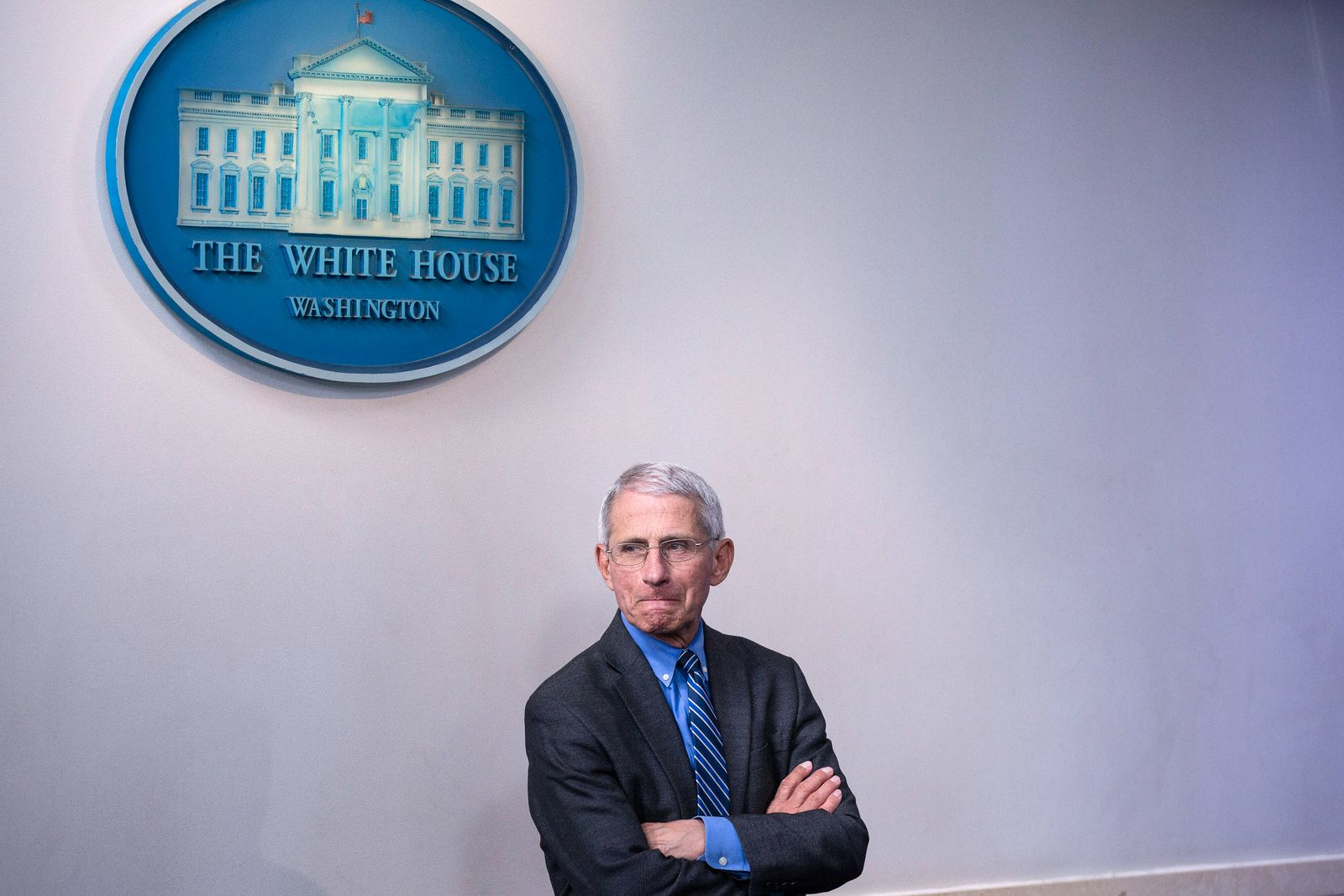 Anthony Fauci, director of the National Institute of Allergy and Infectious Diseases, arrives to the James S. Brady Pres