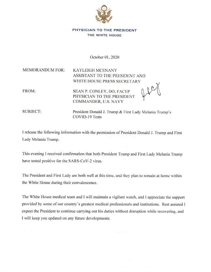 Der Brief, in dem der Arzt des Weißen Hauses die Infektion von Donald und Melania Trump bestätigte