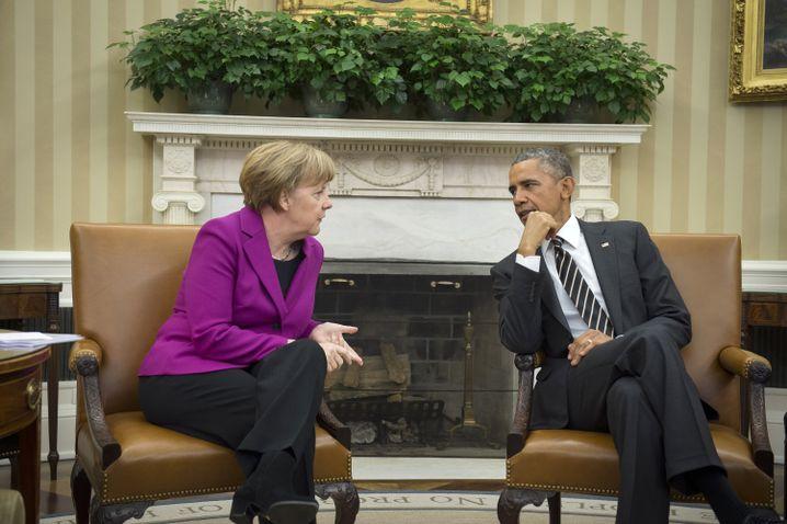 Kanzlerin Merkel, US-Präsident Obama im Weißen Haus: Gegen eine militärische Lösung