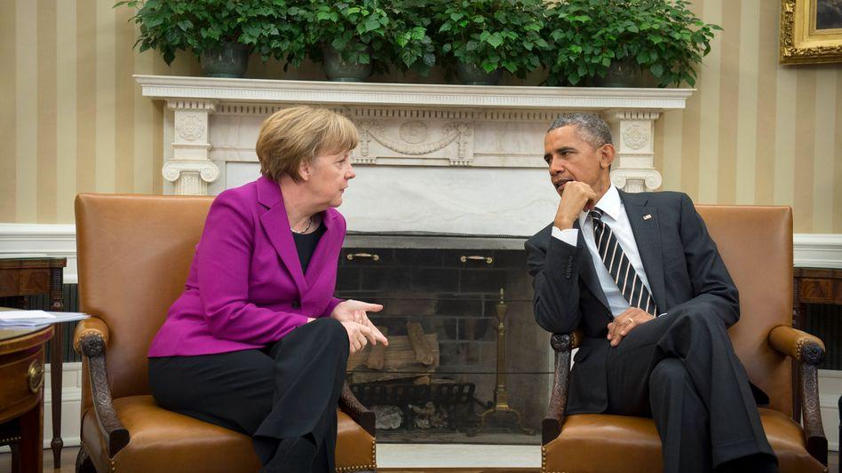 "German Chancellor Angela Merkel during her meeting with US President Barack Obama on Feb. 9: ""Merkel has provided strong leadership in Europe."""