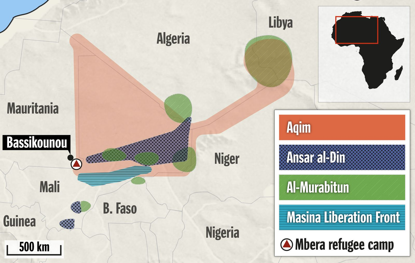 Karte Terrorgruppen in der Sahel-Zone EN