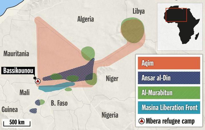 Areas of the Sahel under control of Islamist militias