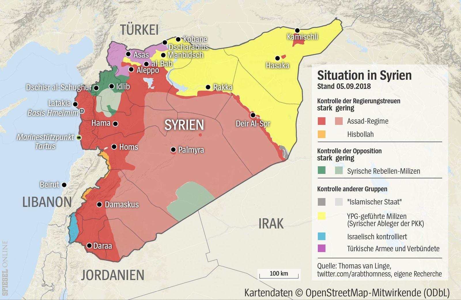 Grafik Karte Syrien mit Manbidsch
