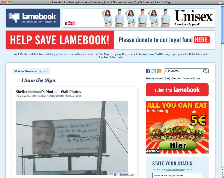 SCREENSHOT Lamebook / Netzwelt