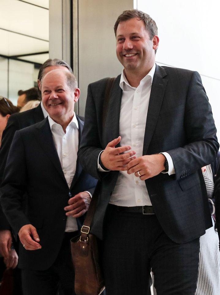 Finanzminister Olaf Scholz (SPD) und Parteigeneralsekretär Lars Klingbeil