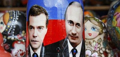 Could Russia be facing a system of co-sovereignty, but with the roles reversed -- with Vladimir Putin (right) remaining in command, but as prime minister, and first mate Dimitry Medvedev (left) moving to the Kremlin?