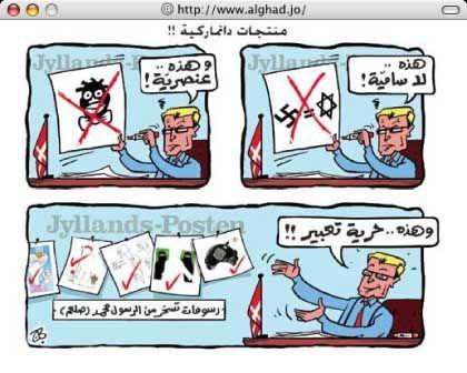 """Anti-dänische Karikatur aus Jordanien (von rechts oben nach links unten zu lesen): """"Diese ist anti-semitisch"""", """"diese ist rassistisch"""", """"und diese fällt unter die Freiheit der Rede"""""""