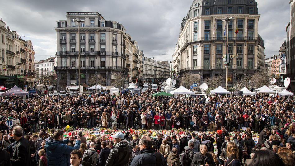 Gedenken auf dem Börsenplatz in Brüssel
