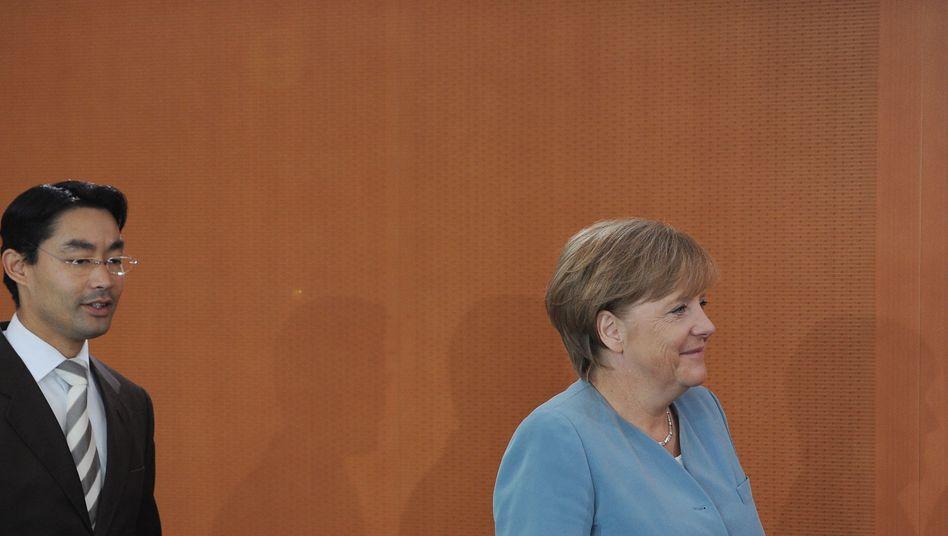 Vizekanzler Rösler, Kanzlerin Merkel: Vorschläge für einen Euro-Stabilitätsrat