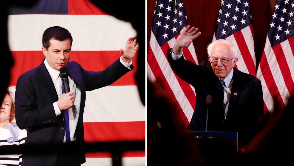 Unterschiedlicher könnten die Bewerber kaum sein: Iowa-Vorwahlsieger Pete Buttigieg (l.) und Bernie Sanders