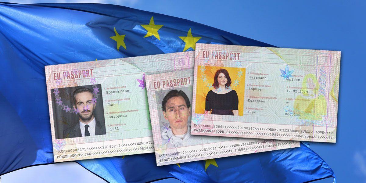 Europa-Fahne mit EU-Pass von Bilderbuch