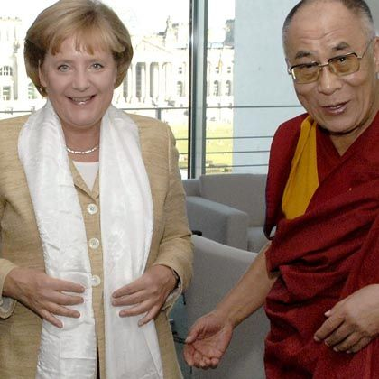 "The Dalai Lama during a visit with German Chancellor Angela Merkel in Sept. 2007: ""The international pressure on Beijing has worked. I can only encourage every free society, especially Germany, to keep up the pressure."""