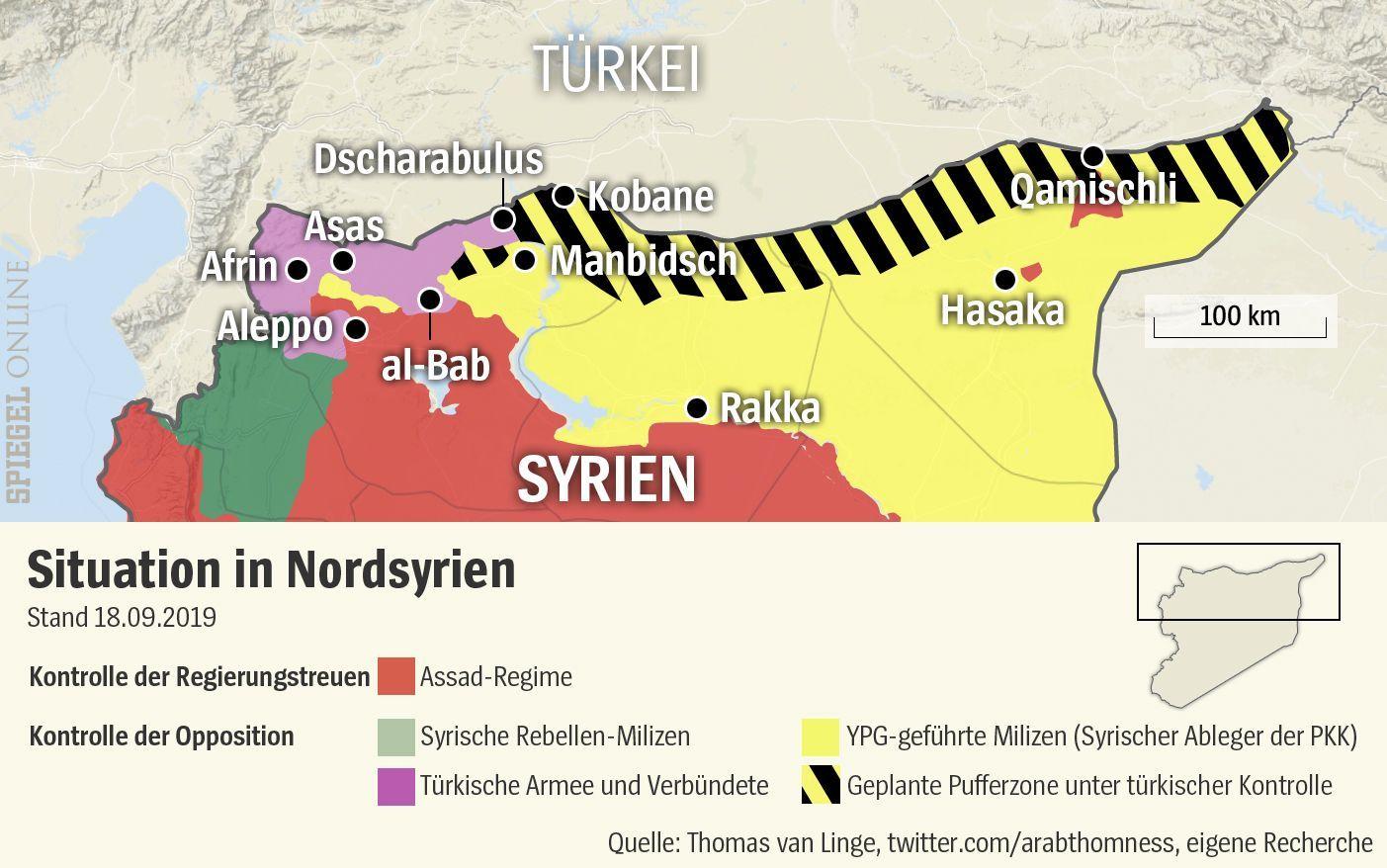 Nordsyrien mit Pufferzone