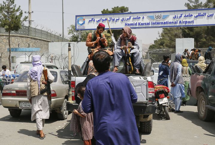 A Taliban checkpoint at the entrance to Afghanistan's international airport in Kabul