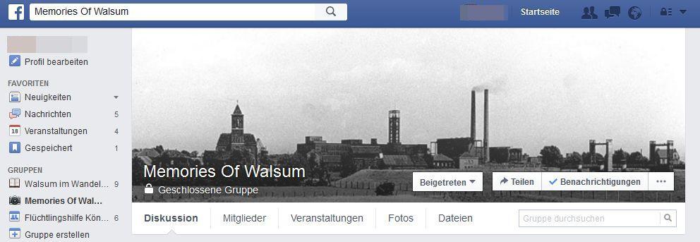 NUR ALS ZITAT Screenshot Facebook-Gruppe/ Memories of Walsum