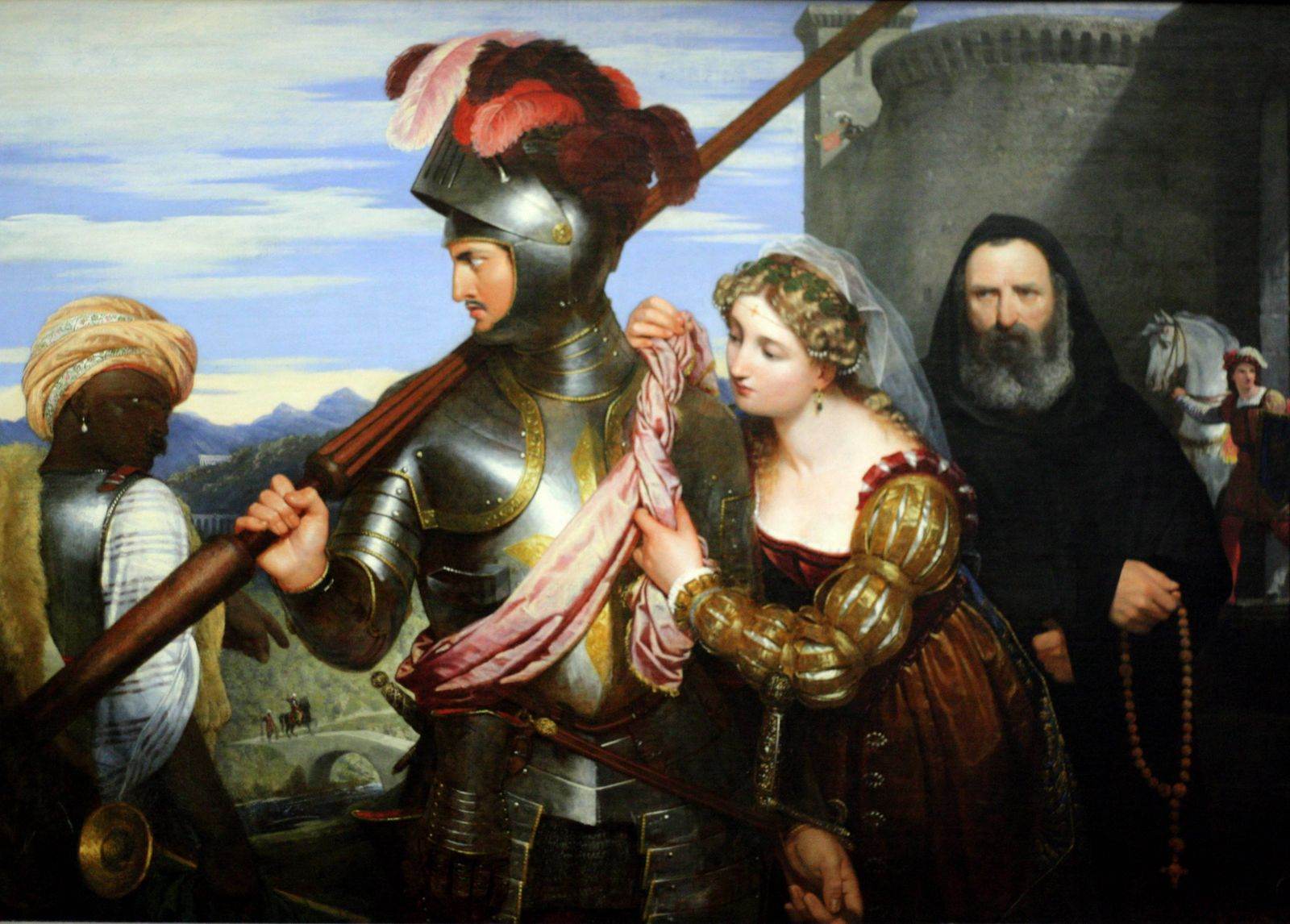 The Champion by Sir Charles Lock Eastlake 1824 Oil on Canvas showing a knight in full armour sto