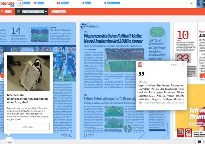 """Durchklicken der """"Sport Bild"""": Ein Minitext aus dem Heft kostet einzeln nur 1 Cent, das Editorial des Hefts aber 49 Cent"""