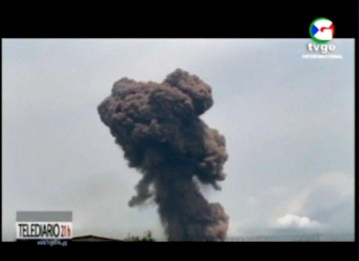 Foto einer Rauchwolke nach einer der Explosionen in Bata
