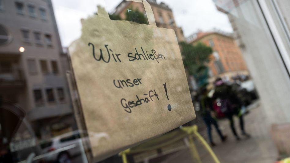 Geschlossenes Geschäft in Stuttgart (im April)