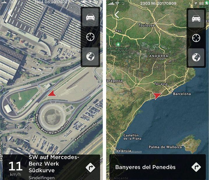 Screenshots von Tesla-Aufenthaltsorten in Sindelfingen, bei Barcelona: Steiniger Offroad-Parcours