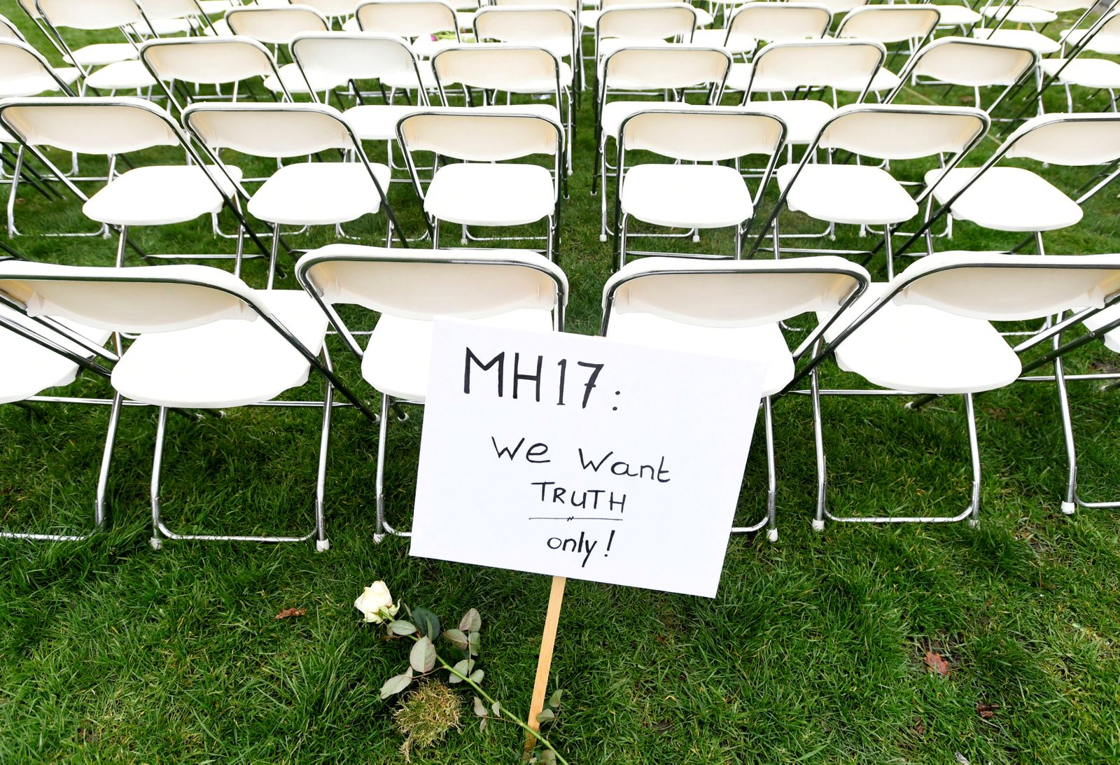 FILE PHOTO: Family members of victims of the MH17 crash protest outside the Russian Embassy in The Hague