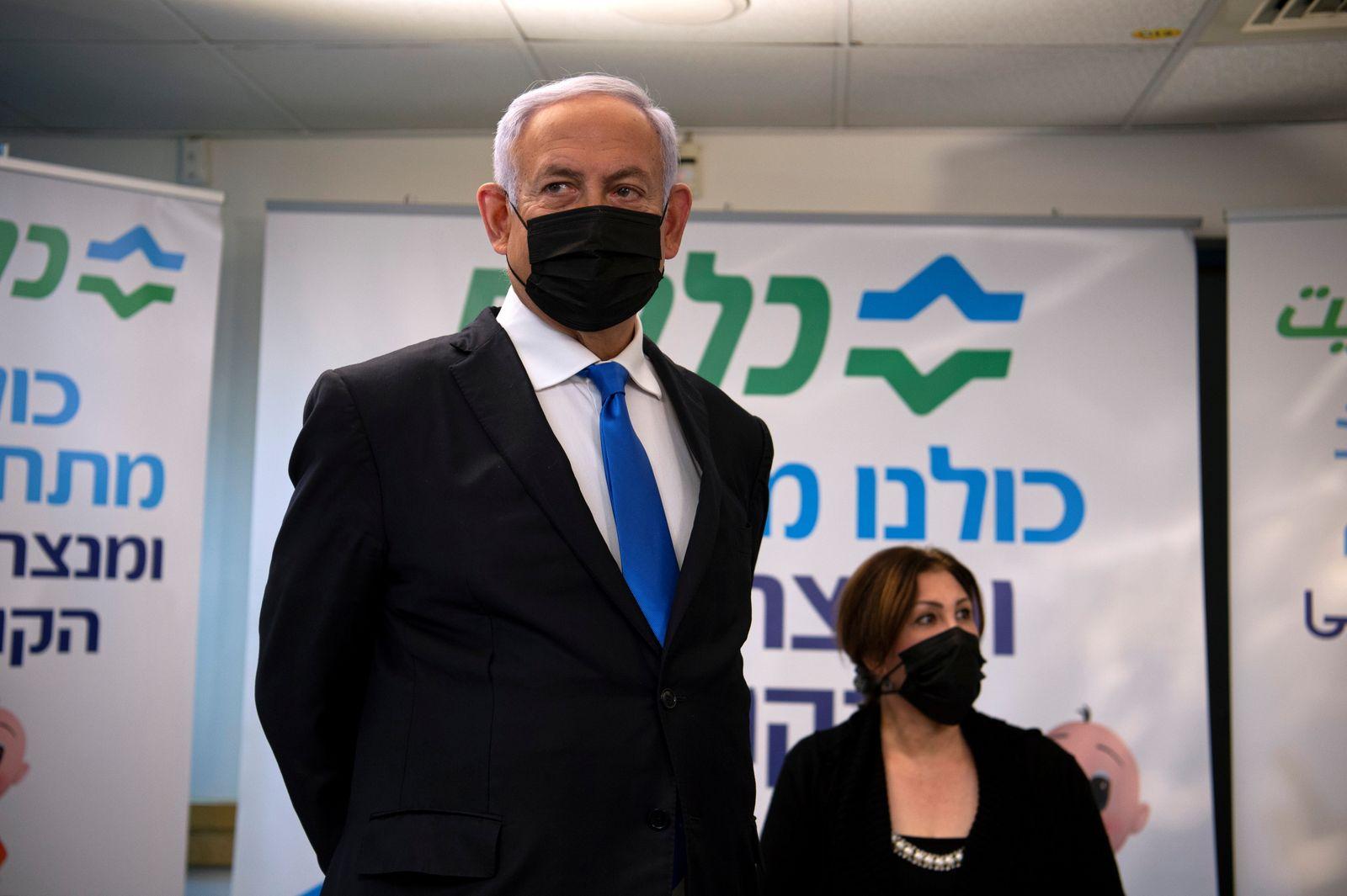 Israeli PM Netanyahu visits a coronavirus vaccination facility in Nazareth