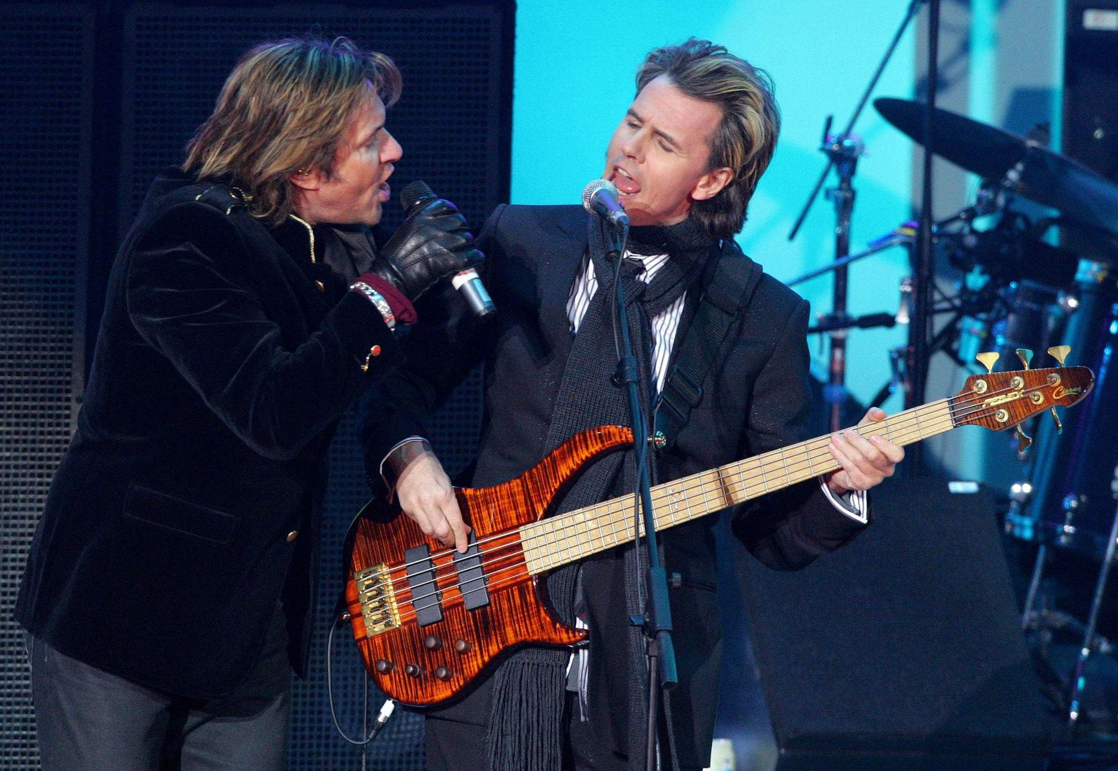 British pop group Duran Duran perform during a medal ceremony at the Winter Olympic Games