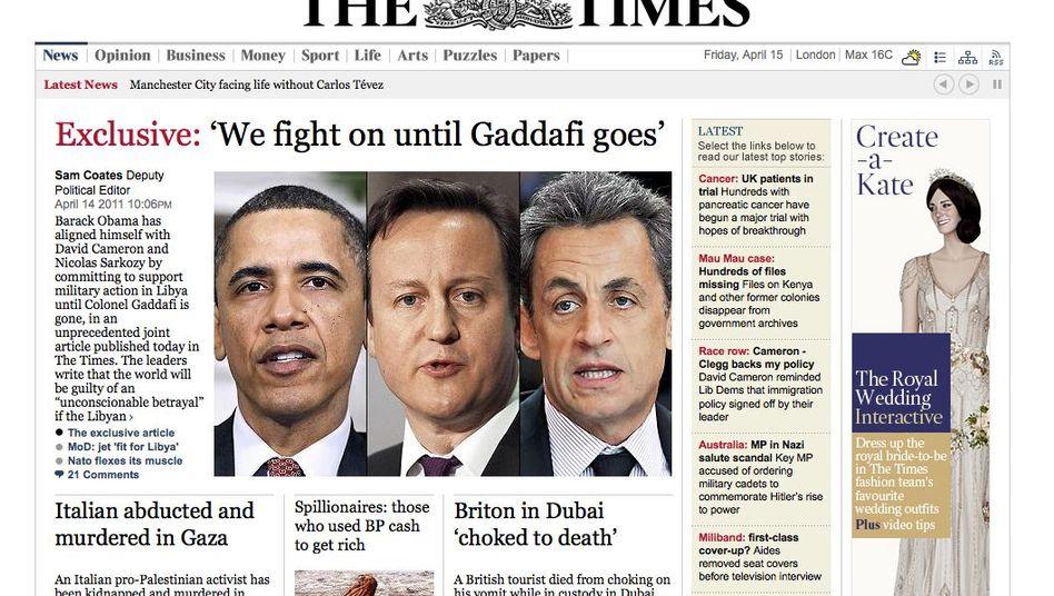 """Artikel von Sarkozy, Cameron, Obama: """"Wir kämpfen bis Gaddafi geht"""""""