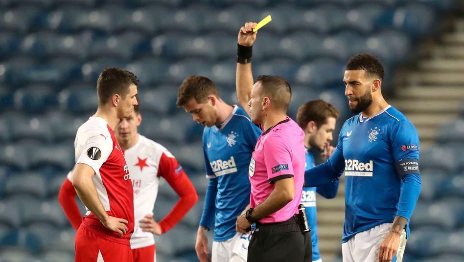 Slavia Prags Ondřej Kúdela im Spiel gegen die Glasgow Rangers