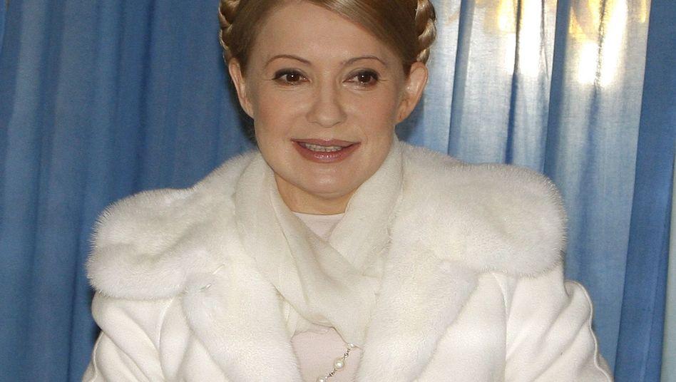 Ukraine's Prime Minister Yulia Tymoshenko at a polling station in Dnipropetrovsk