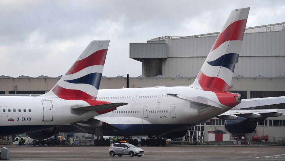 """British-Airways-Maschinen am Flughafen London-Heathrow: """"Die Sicherheit unserer Kunden und unserer Crew hat immer Priorität"""""""