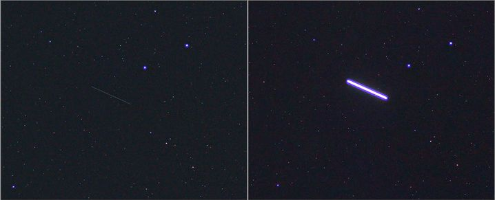 Verlorenes Paneel (dünner Strich links) und ISS (dicker Strich rechts) am Himmel