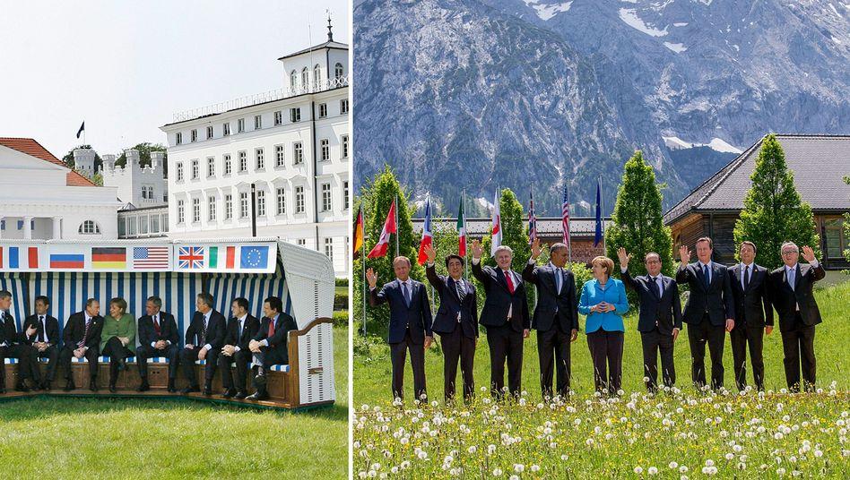 Gruppenfotos bei den Gipfeltreffen - links in Heiligendamm, rechts in Elmau