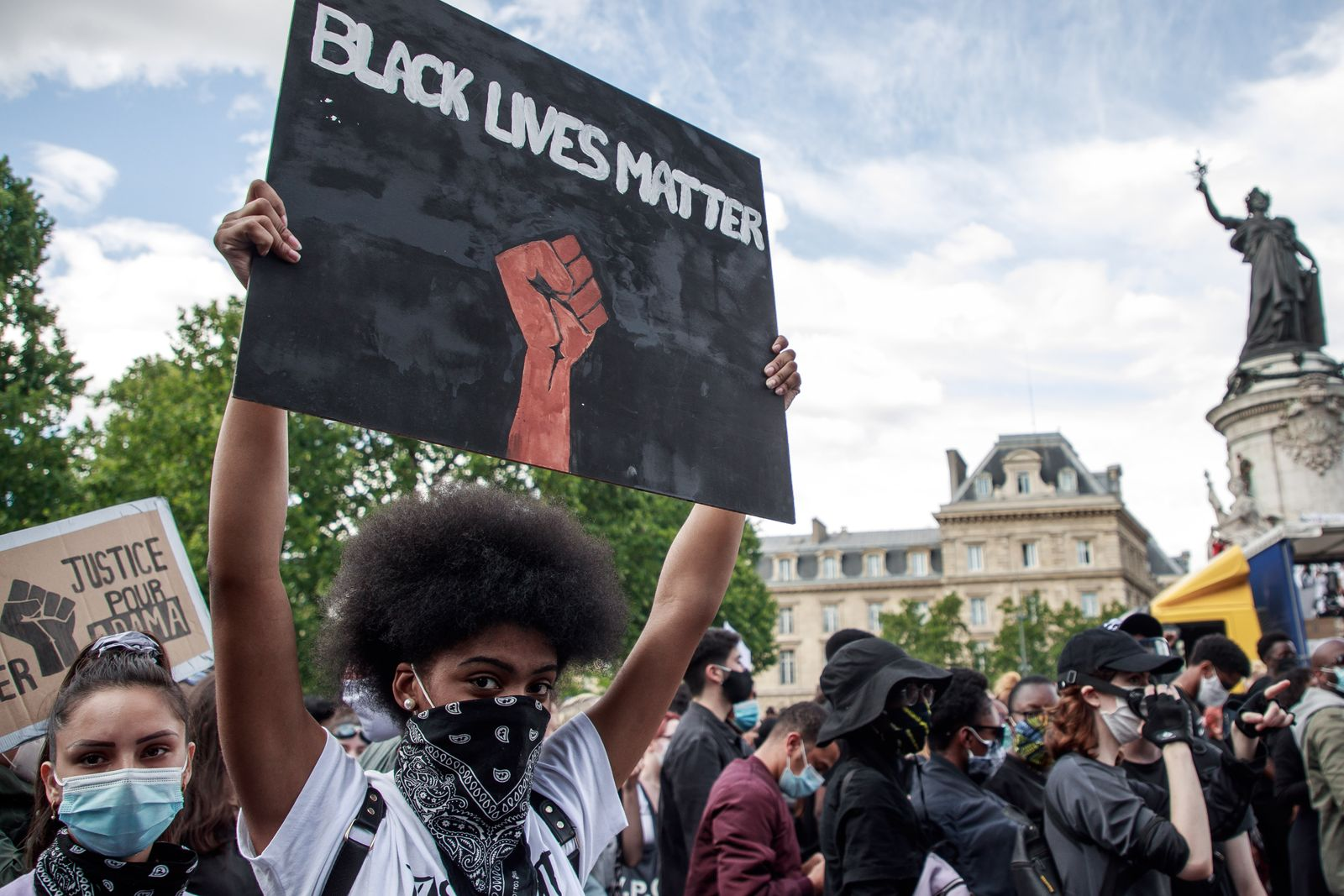 Protest against police brutality and for Adama Traore in Paris, France - 13 Jun 2020