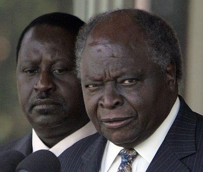 Kenya's President Mwai Kibaki (right) announced the appointment of opposition leader Raila Odinga (left) as prime minister on Sunday.