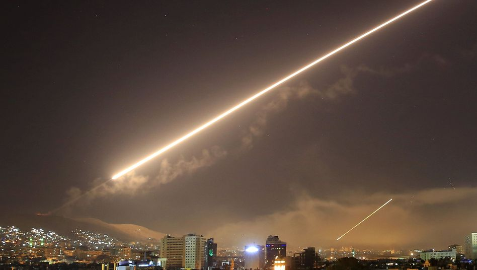 Anti-aircraft fire over Damascus in April