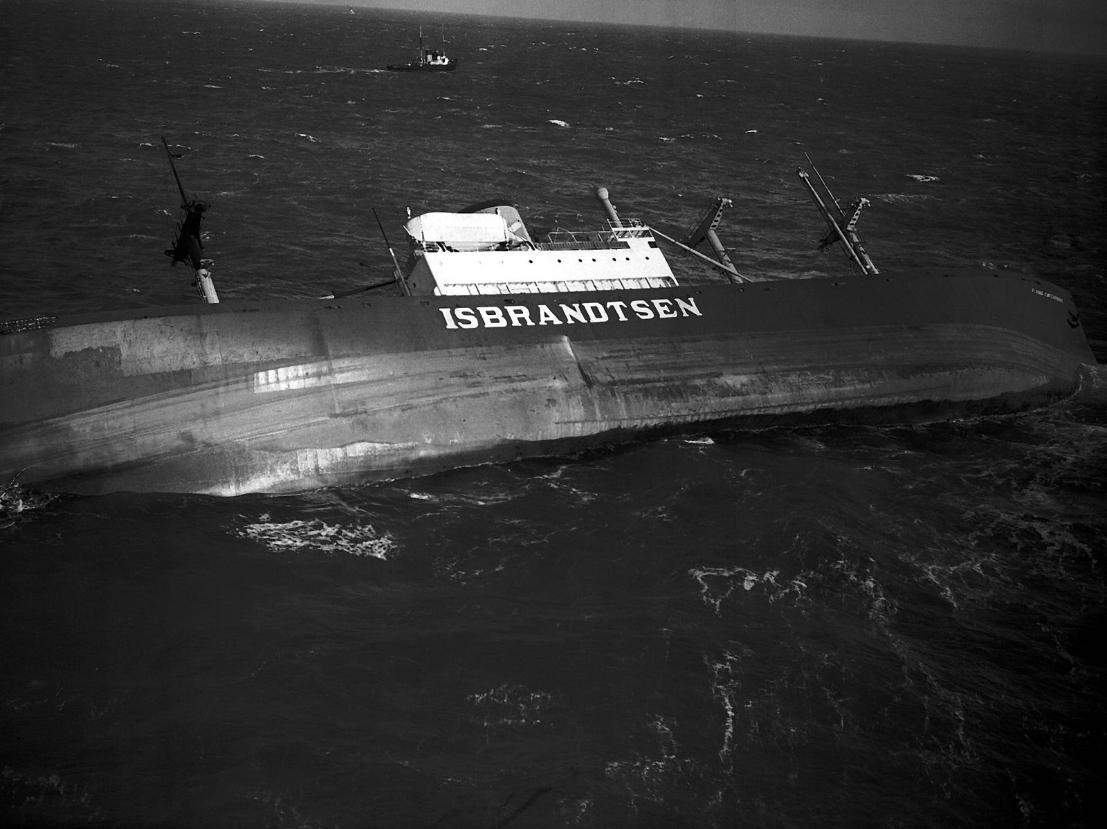 The Flying Enterprise sinking off the Cornish coast in January 1952.