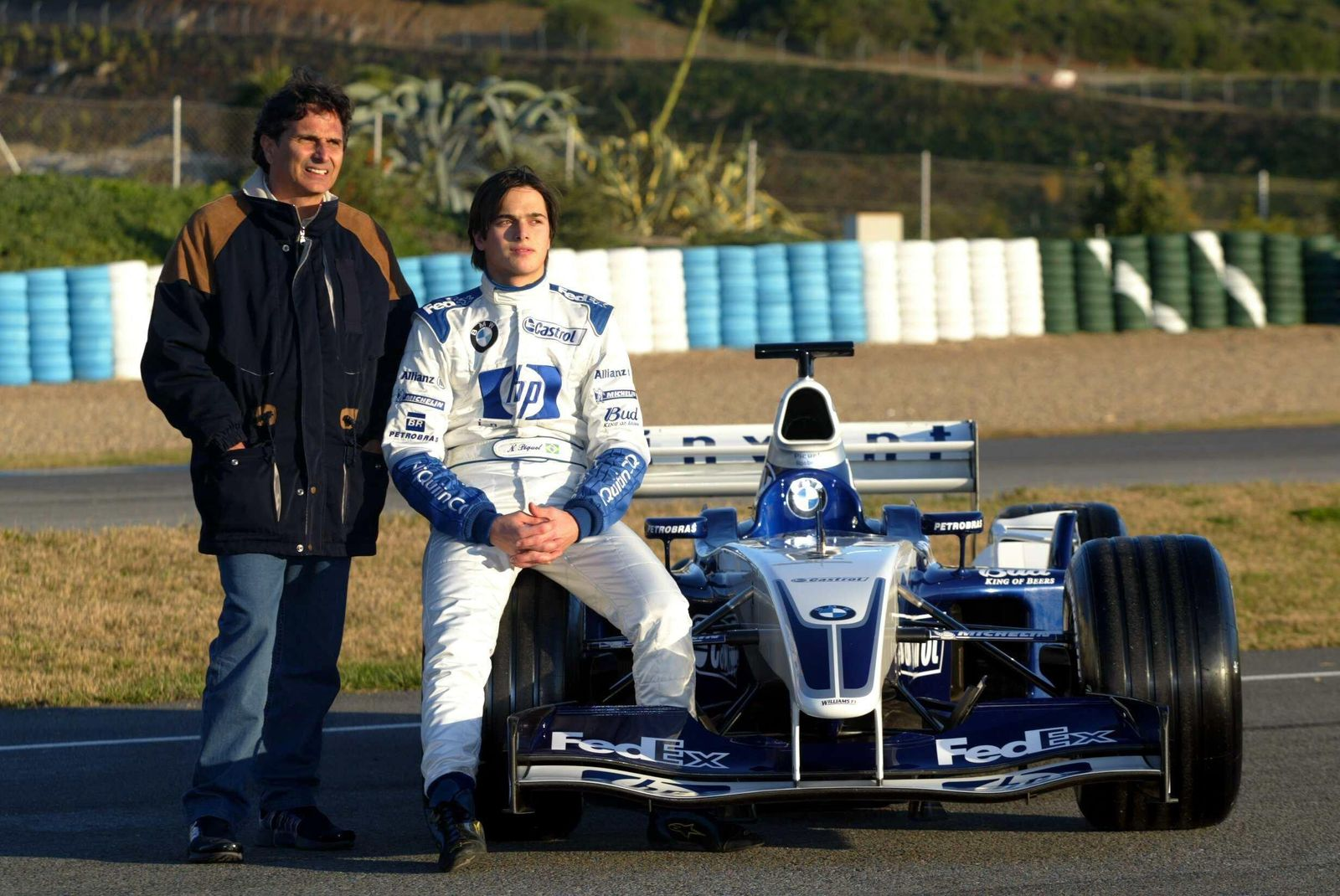 L to R Nelson Piquet BRA and his son Nelson Piquet Jnr BRA Williams BMW FW25 Formula One Test