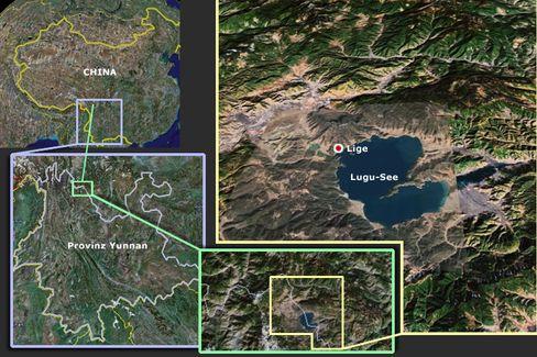Idyllische Lage: Das Dorf Lige am Lugu-See