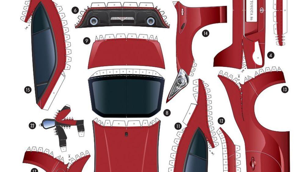 Toyota-Bastelbogen: Drucken, schneiden, kleben