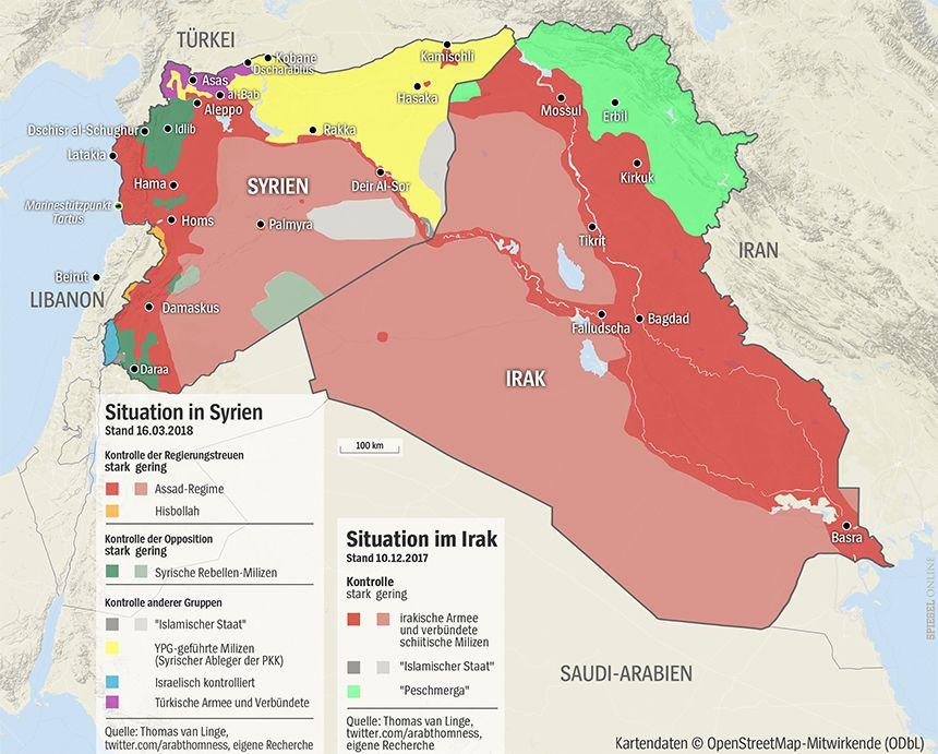 Grafik Karte Syrien + Irak 16-03-2018 bzw. 10-12-2017