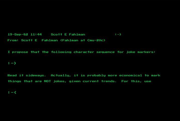 Die Mail des Computerwissenschaftlers Scott Fahlman vom 19. September 1982 mit seinem Vorschlag der Zeichenkombination »:-)«