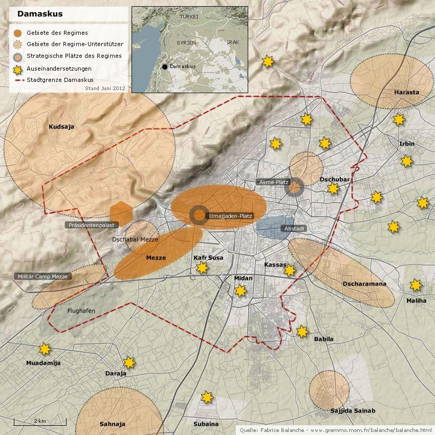 Karte Damaskus NEU! V2 Regime Gebiete und Unterstützer
