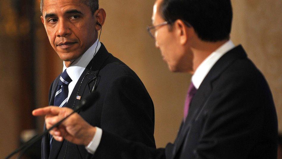 Obama und Südkoreas Präsident Lee: Die Gastfreundschaft hält sich in Grenzen