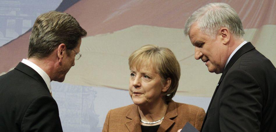 Koalitionäre Westerwelle, Merkel, Seehofer: Schlechtes Zeugnis von den Wählern